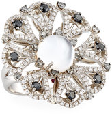 Roberto Coin Margherita 18k White, Black & Gray Diamond Ring, Size 6.5