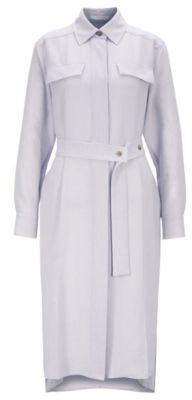 HUGO BOSS Long Length Melange Shirt Dress With Concealed Placket - Light Purple