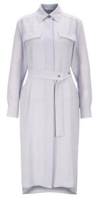 Long-length melange shirt dress with concealed placket