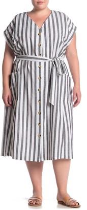 Nina Leonard Striped Dolman Sleeve Button Front Midi Dress