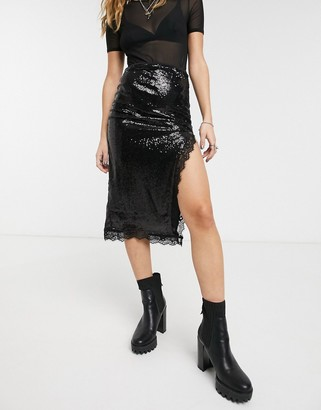Motel sequin midi skirt with high split and lace detail-Black