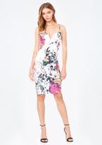 Bebe Print Deep V Midi Dress