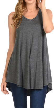 Shamaim Women's Tunics CHARCOAL - Charcoal Sleeveless Swing Tunic - Women