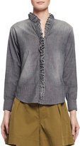 Isabel Marant Awendy Ruffled Chambray Shirt, Gray