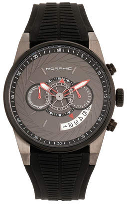 Morphic Quartz M72 Series, MPH7206, Black/Charcoal Chronograph Silicone Watch 43MM