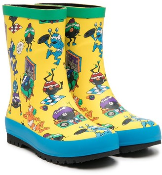 Stella McCartney Kids Music Monsters print rain-boots