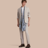 Burberry Slim Fit Herringbone Cotton Blend Jersey Trousers