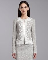 St. John Speckled Tweed Jacket, Porcelain