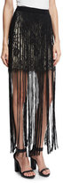 Haute Hippie Lace Mini Skirt w/ Silk Fringe, Black