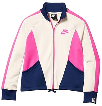 Nike Kids NSW Heritage Full Zip (Little Kids/Big Kids) (Light Orewood Brown/Blue Void/Fire Pink) Girl's Jacket