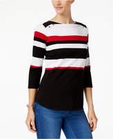 Karen Scott Cotton Striped 3/4-Sleeve Top, Created for Macy's