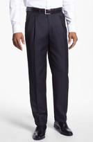 Santorelli Men's 'Luxury Serge' Double Pleated Wool Trousers