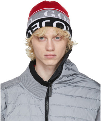 Y/Project Reversible Red and Grey Canada Goose Edition Wool Beanie