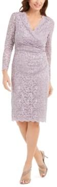 Jessica Howard Embellished Lace Side-Ruched Dress