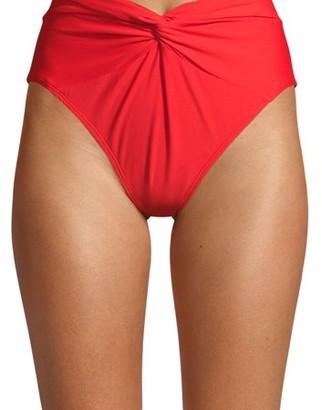 Time and Tru Women's Red Twist Front Solid High Waist Swimsuit Bikini Bottom
