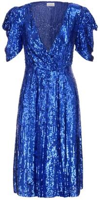 P.A.R.O.S.H. Sequin Embellished V-Neck Mini Dress