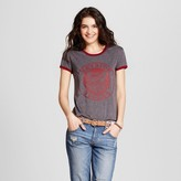 Mighty Fine Women's Saved By The Bell® Bayside Tigers Graphic Ringer Tee Charcoal Gray Juniors')