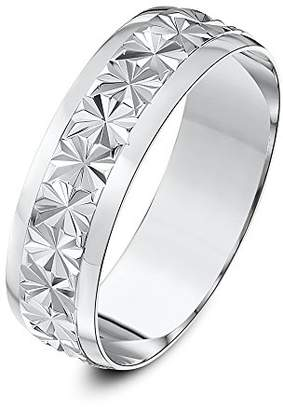 Theia 9ct White Gold Heavy Weight - Star Centre Design D-Shape 6mm Wedding Ring - Size V