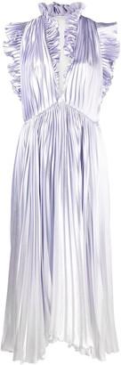 Philosophy di Lorenzo Serafini Metallic-Sheen Plisse Dress
