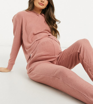 New Look Maternity co-ord lounge soft ribbed overbump trackies in pink