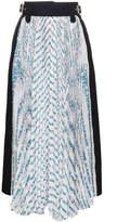 Sacai high waisted print pleated skirt