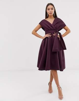 Asos Design fallen shoulder midi prom dress with tie detail-Purple