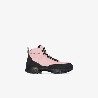 Alyx Pink Logo Print Leather Hiking Boots