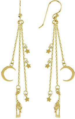 Sara Miller 18ct Gold Plated Giraffes in the Night Drop Earrings