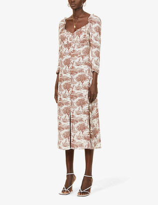 Reformation Fairway graphic-print woven midi dress
