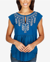 Lucky Brand Embroidered Cap-Sleeve Top