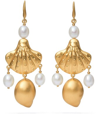 Tory Burch Shell & Freshwater Pearl Drop Earrings