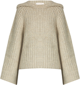 See by Chloe Hooded bell-sleeved ribbed-knit sweater