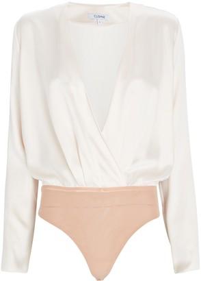 Cushnie Silk Wrap Blouse Bodysuit