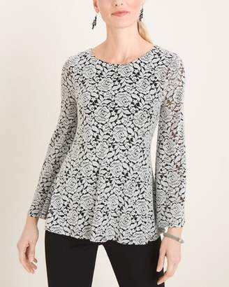Chico's Chicos Black and White Floral Jacquard Top