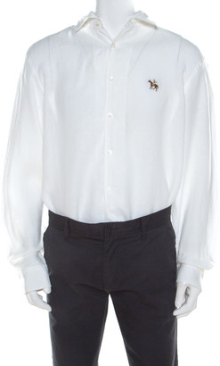 Ralph Lauren White Linen Long Sleeve Button Front Shirt XXL