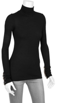 Turtle Neck With Check Ruffled Trim