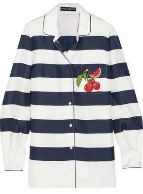 Dolce & Gabbana Appliquéd Striped Silk-Twill Shirt