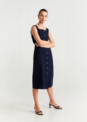 MANGO Buttons cotton dress dark navy - 2 - Women