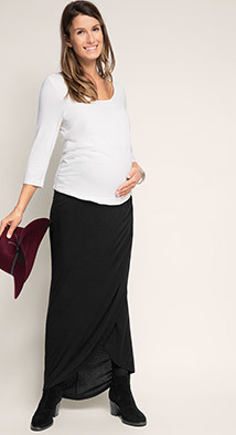 Esprit jersey maxi skirt w over-bump waistband