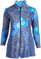 Aller Simplement Blue Abstract Henna Zip-Up Sweatshirt - Plus