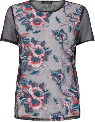 New Look Floral Embroidered Mesh Top