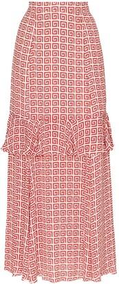 Rebecca De Ravenel spiral-print maxi skirt