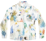 G.KERO Tangerine White Birds Button Down Shirt