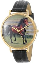 Whimsical Watches Women's N0110029 Morgan Horse Black Leather And Goldtone Photo Watch