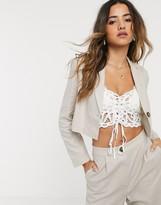 Asos Design DESIGN linen cropped suit blazer