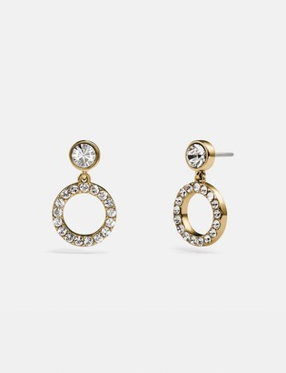 Coach Pave Ring Drop Stud Earrings