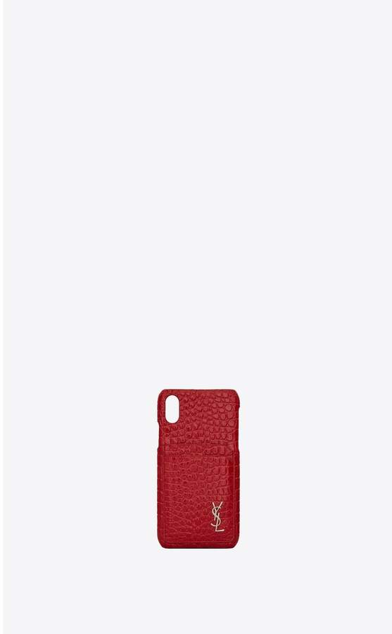 Saint Laurent Monogram Iphone X Case In Crocodile Embossed Shiny Leather