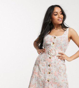Asos DESIGN Petite button through linen mini sundress with self covered belt in floral print