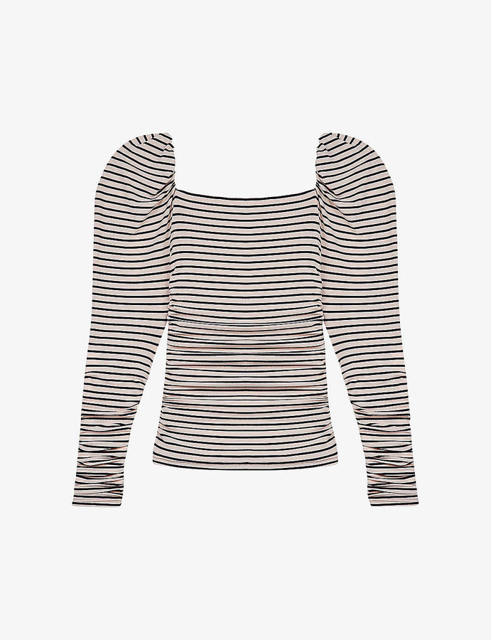 Maje Take striped woven T-shirt