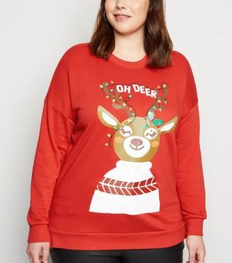 New Look Curves Oh Deer Slogan Christmas Sweatshirt